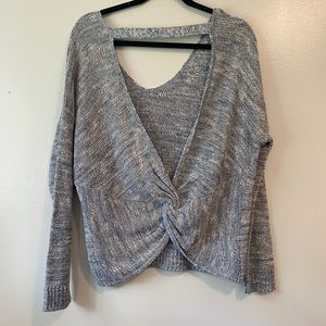 Express Blue/gray twist back sweater